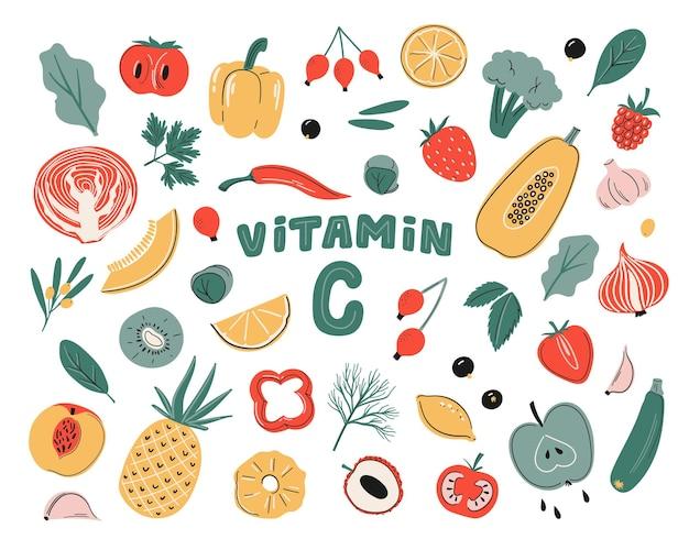 Набор векторных источников витамина c фрукты, овощи и ягоды коллекция здоровой пищи