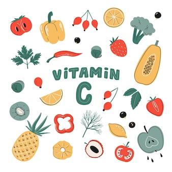 Набор векторных источников витамина с. сбор фруктов, овощей и ягод. здоровое питание, диетические продукты, органика. плоская иллюстрация шаржа
