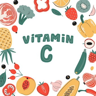 Vector vitamin c sources set fruits vegetables and berries collection healthy food