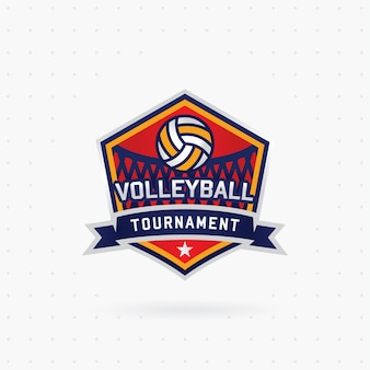Vector volleyball tournament logo with ball