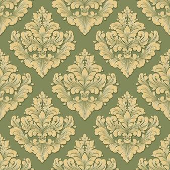 Vector volumetric damask seamless pattern