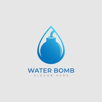 ベクトル水滴と爆弾のロゴの組み合わせ