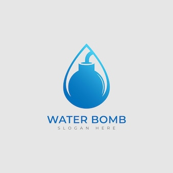Vector water drop and bomb logo combination