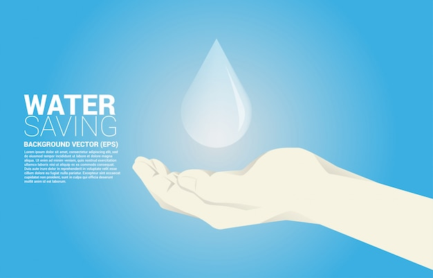 Vector water drop in human hand. background concept for saving water.