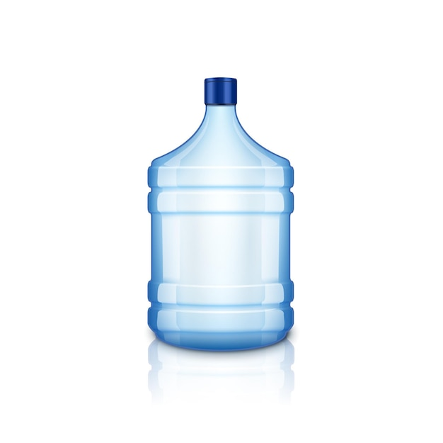 Vector water empty bottle. large plastic big blue transparent bottle for clean water, isolated.