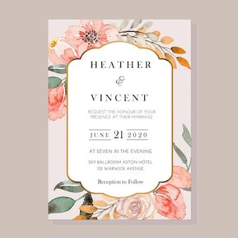 벡터 수채화 블루 양 귀 비 및 흰색 꽃 빈티지 초대장 서식 파일