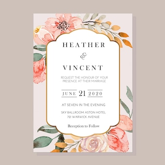 Vector watercolor blue poppies and white floral vintage invitation template