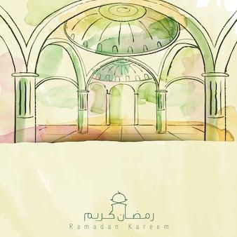 Vector watercolor brush mosque islamic greeting ramadan kareem