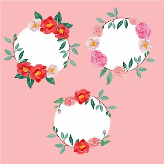 Vector watercolor camellia flower round frame template set