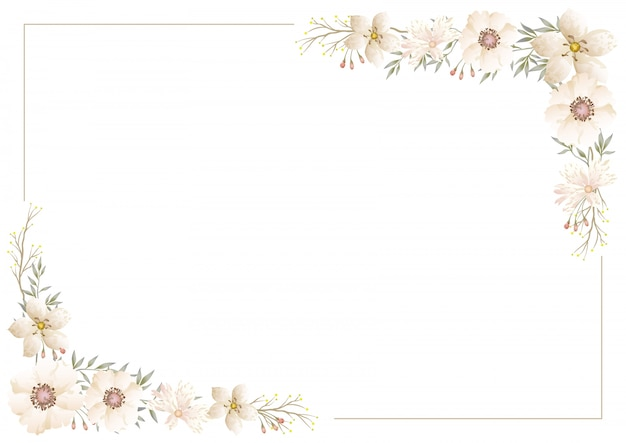 Vector watercolor floral frame isolated