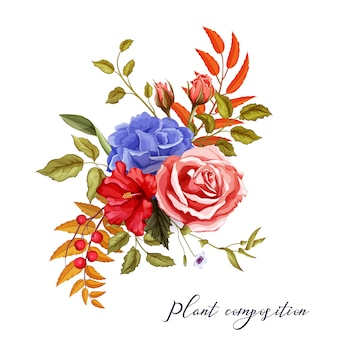 Vector watercolor flowers vintage pattern with hibiscus, rose, blossoms with leaves and berries for wedding card design.