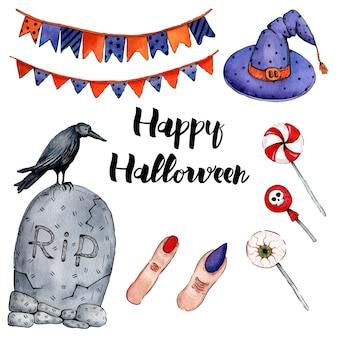 Векторная иллюстрация акварель для happy halloween
