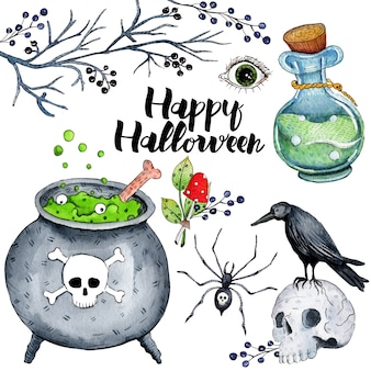 Vector watercolor illustration for happy halloween