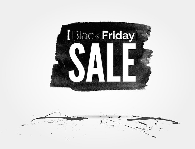 Vector watercolor of label on the big black friday discounts and sales