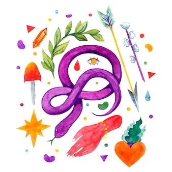 Vector watercolor magic illustration set, mystic, snake, fortune telling, mushroom, hands, heart, colorful, plant, gemstone, arrow, flower