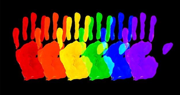 ベクトル水彩画の手。白い紙に分離されたカラフルなレインボープライドのシンボル
