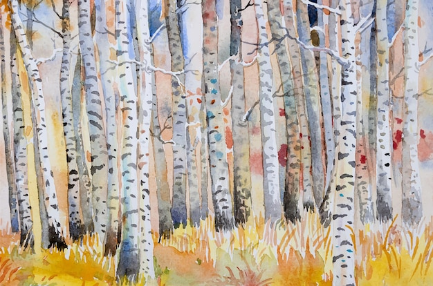 벡터 수채화 그림 풍경 다채로운가 나무 숲의 반 추상 이미지