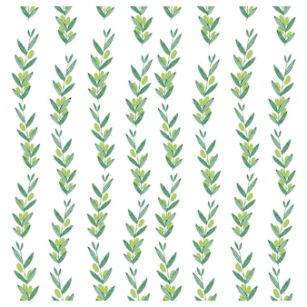 Vector watercolor pattern with olive branches.