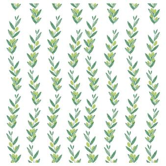 オリーブの枝を持つベクトル水彩パターン。