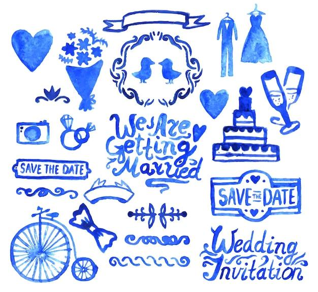 Vector watercolor vintage painted doodle blue wedding design set.