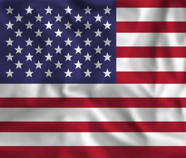 アメリカの国旗を振るベクトル。愛国的な国家デザインの背景。宇佐旗