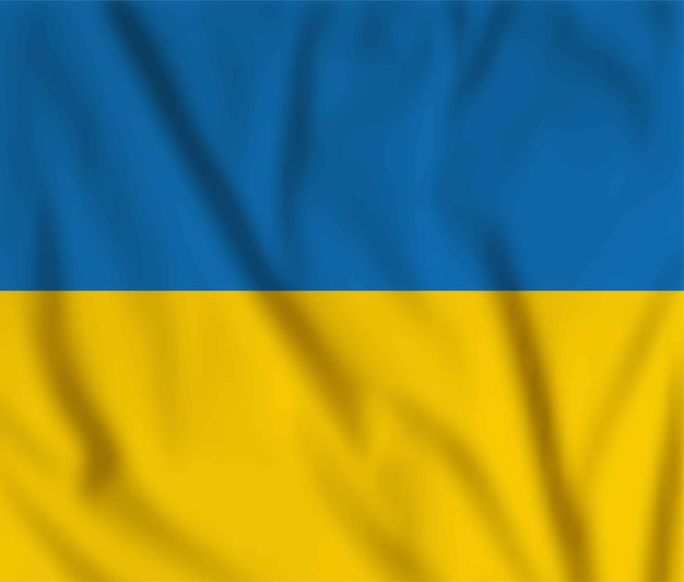 Векторный развевающийся флаг украины. желтый и синий национальный украинский символ. с днем независимости, с днем конституции
