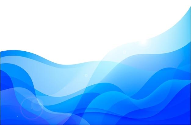 Vector wavy abstract geometric background blue flow hoizontal banner trendy gradien