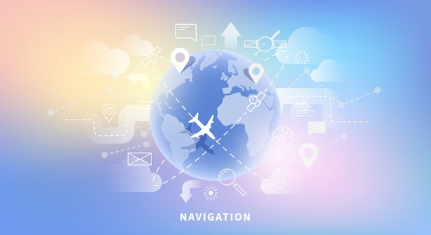 Вектор веб-баннер карты навигации, геотехнологии, gps. линейный и плоский стиль. светящийся фон.