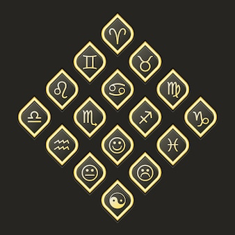 Vector web icons set for esoteric astrology horoscope