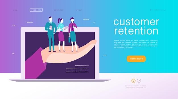ベクターウェブページのコンセプトデザイン-顧客維持のテーマ。大きな人間の手に販売バッグスタンドで幸せな人々を購入します。ランディングページ、モバイルアプリ、サイトテンプレート。ビジネスイラスト。インバウンドマーケティング。