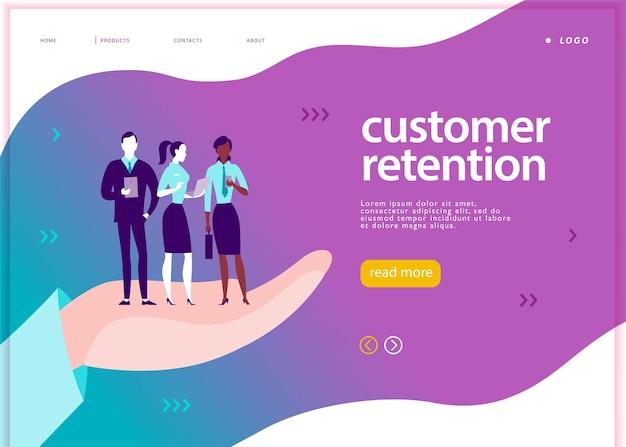 벡터 웹 페이지 컨셉 디자인 - 고객 유지 테마. 모바일 장치를 가진 사무실 사람들은 큰 인간의 손에 서 있습니다. 방문 페이지, 모바일 앱, 사이트 템플릿. 비즈니스 그림입니다. 인바운드 마케팅.