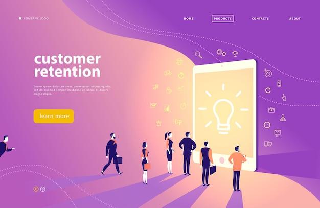 顧客維持をテーマにしたベクターウェブページのコンセプトデザインオフィスの人々は大きなデジタルタブレット画面に立っていますランディングページモバイルアプリサイトテンプレートラインアートビジネスアイコンインバウンドマーケティング