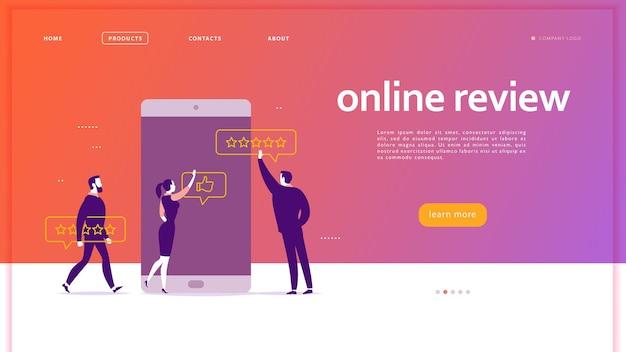 オンラインレビューをテーマにしたベクターウェブページのコンセプトデザイン。星、フィードバック、評価を与えるスマートフォン画面のオフィスの人々。親指を立てて、星の線のアイコン。ランディングページ、モバイルアプリ、ui、ux、サイト。