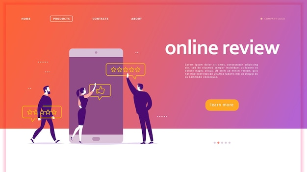 Vector web page concept design with online review theme. office people at smartphone screen giving stars, feedback and rating. thumb up, stars line icons. landing page, mobile app, ui, ux, site.