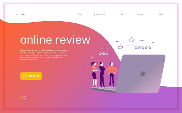 Vector web page concept design with online review theme office people stand watching on mobile device screen  laptop tablet thumb up stars line icons landing page mobile app ui ux site