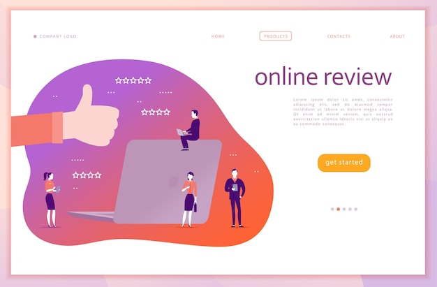 Vector web page concept design with online review theme. office people with gadgets - laptop, tablet, smartphone. thumb up sign, laptop screen, stars line icons. landing page, mobile app, ui, ux, site