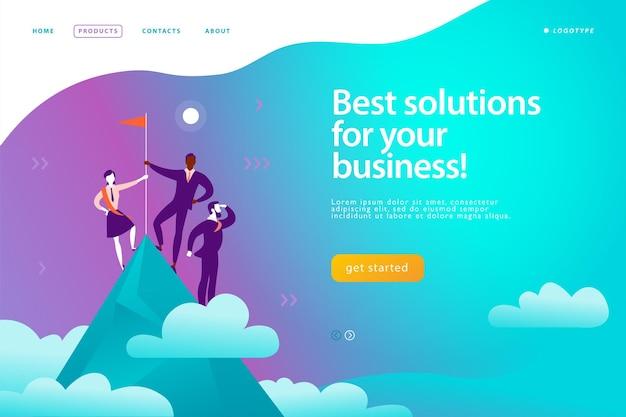 벡터 웹 페이지 디자인 템플릿 - 비즈니스 솔루션, 컨설팅, 마케팅, 지원 개념. 승자 깃발을 들고 산 정상에 서 있는 사람들. 성공 팀 작업입니다. 방문 페이지. 모바일 앱, 웹 배너