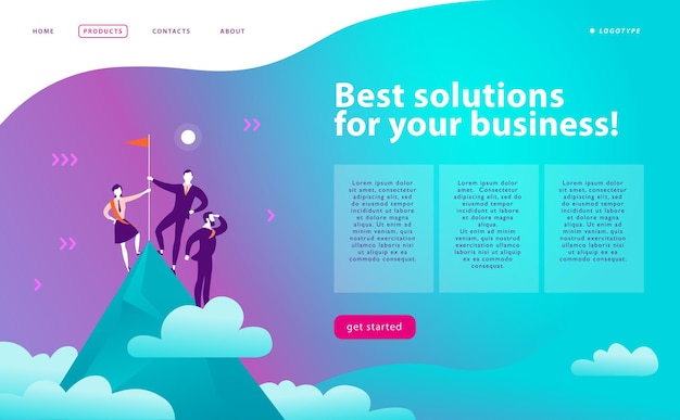 ベクターウェブページデザインテンプレートビジネスソリューションコンサルティングマーケティングサポートコンセプト勝者旗を掲げて山頂に立つ人々成功チームワークランディングページモバイルアプリウェブバナー