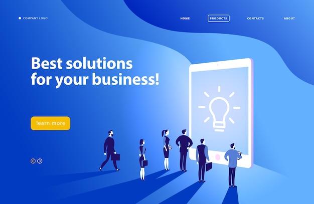 ベクトルウェブページデザインテンプレート複雑なビジネスソリューションプロジェクトサポートオンライン相談現代技術サービス時間管理計画ランディングページモバイルアプリフラットコンセプトイラスト