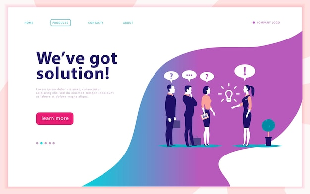 Vector web page design template  complex business solution project support online consult modern technology service time management planning landing page mobile app flat concept illustration