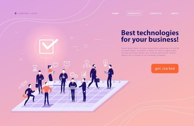 複雑なビジネスソリューション、プロジェクトサポート、オンラインコンサルティング、最新技術、時間管理、計画のためのベクターwebページデザインテンプレート。ランディングページ。モバイルアプリ。フラットコンセプトイラスト。