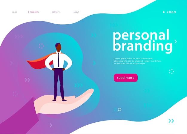 パーソナルブランディング、ビジネスコミュニケーション、コンサルティング、計画のためのベクターウェブページテンプレート。ランディングページのデザイン。人間の手でスーパーヒーローとして立っているビジネスマン。 webバナー、モバイルアプリのイラスト