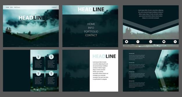 Vector web template. corporate website design. minimalistic multifunctional media backdrop. editable. blurred mountain landscape