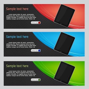 Vector website headers, tablet promotion banners