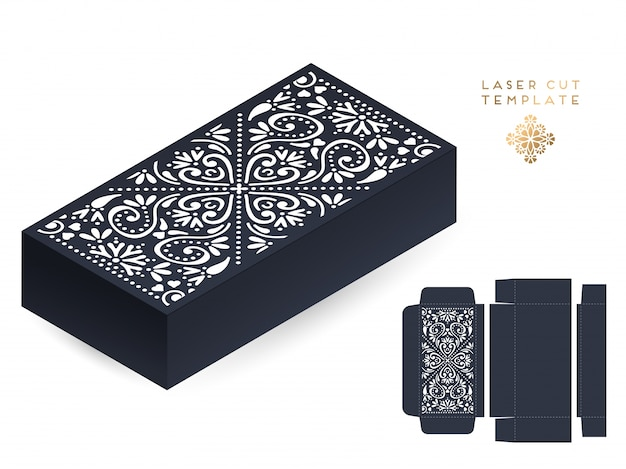 Vector wedding card laser cut template box