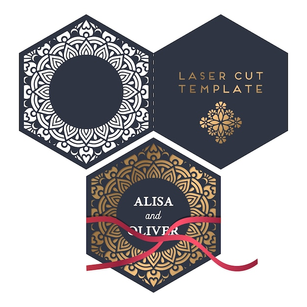 Free Vector wedding card laser cut template SVG DXF EPS PNG - Free