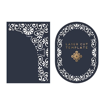Vector wedding card laser cut template