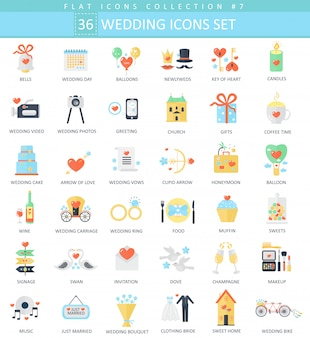 Vector wedding color flat icon set.