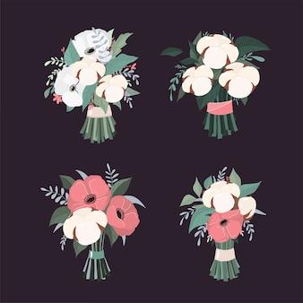 Vector wedding cotton bouquets.