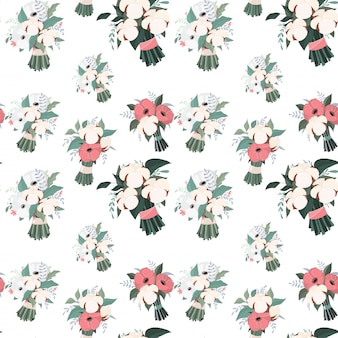 Vector wedding cotton seamless pattern bouquets.